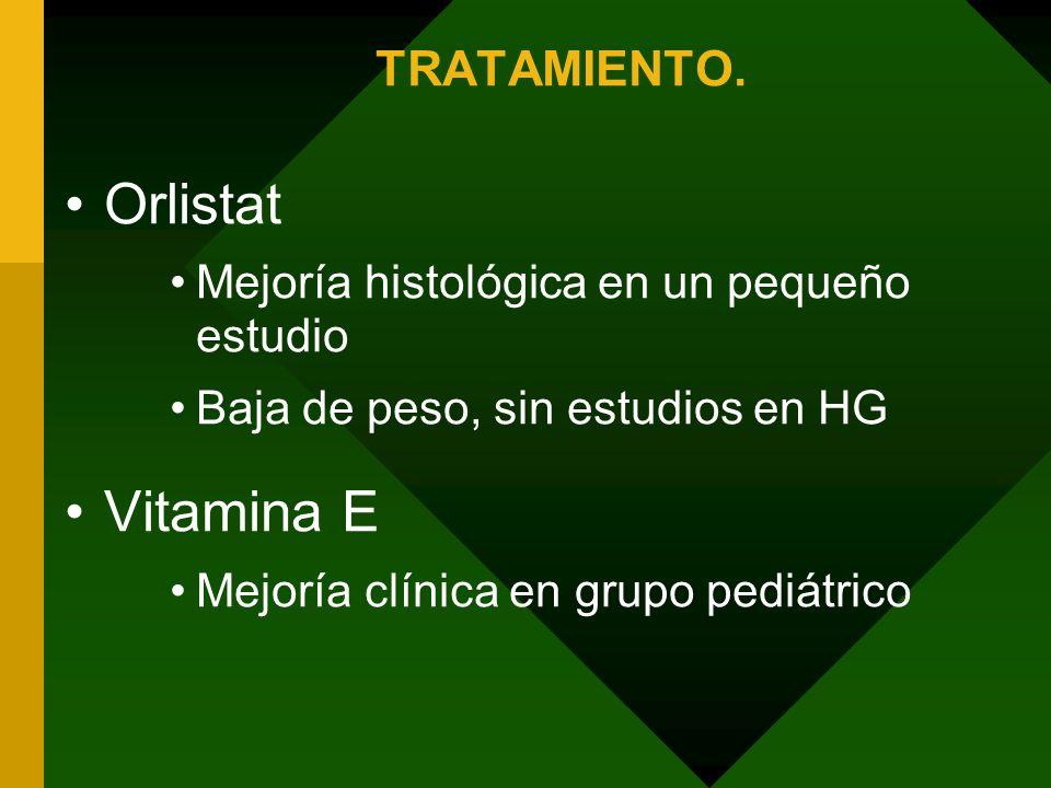 TRATAMIENTO. Orlistat Mejoría histológica en un pequeño estudio Baja de peso, sin estudios en HG Vitamina E Mejoría clínica en grupo pediátrico