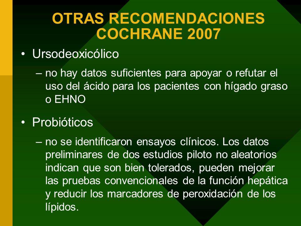 OTRAS RECOMENDACIONES COCHRANE 2007 Ursodeoxicólico –no hay datos suficientes para apoyar o refutar el uso del ácido para los pacientes con hígado gra