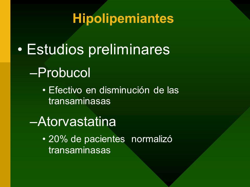 Hipolipemiantes Estudios preliminares –Probucol Efectivo en disminución de las transaminasas –Atorvastatina 20% de pacientes normalizó transaminasas
