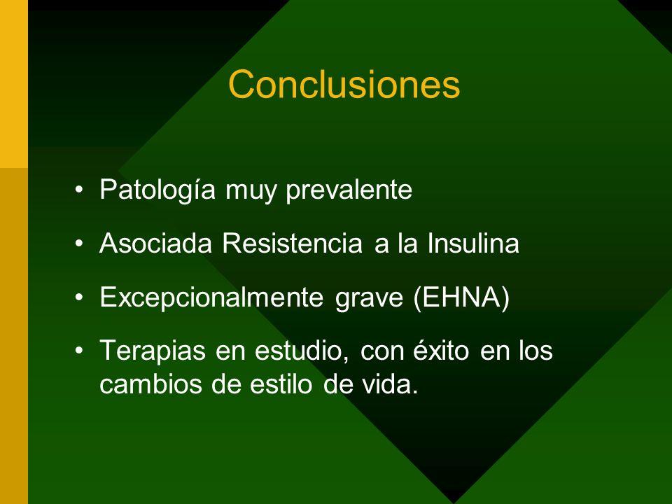 Conclusiones Patología muy prevalente Asociada Resistencia a la Insulina Excepcionalmente grave (EHNA) Terapias en estudio, con éxito en los cambios d