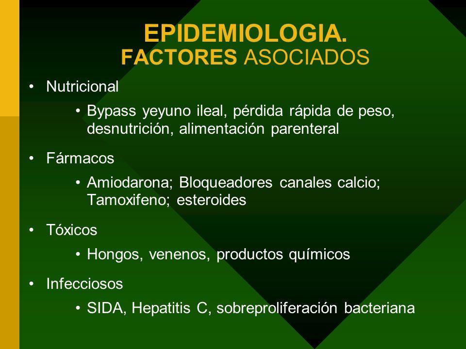 EPIDEMIOLOGIA. FACTORES ASOCIADOS Nutricional Bypass yeyuno ileal, pérdida rápida de peso, desnutrición, alimentación parenteral Fármacos Amiodarona;