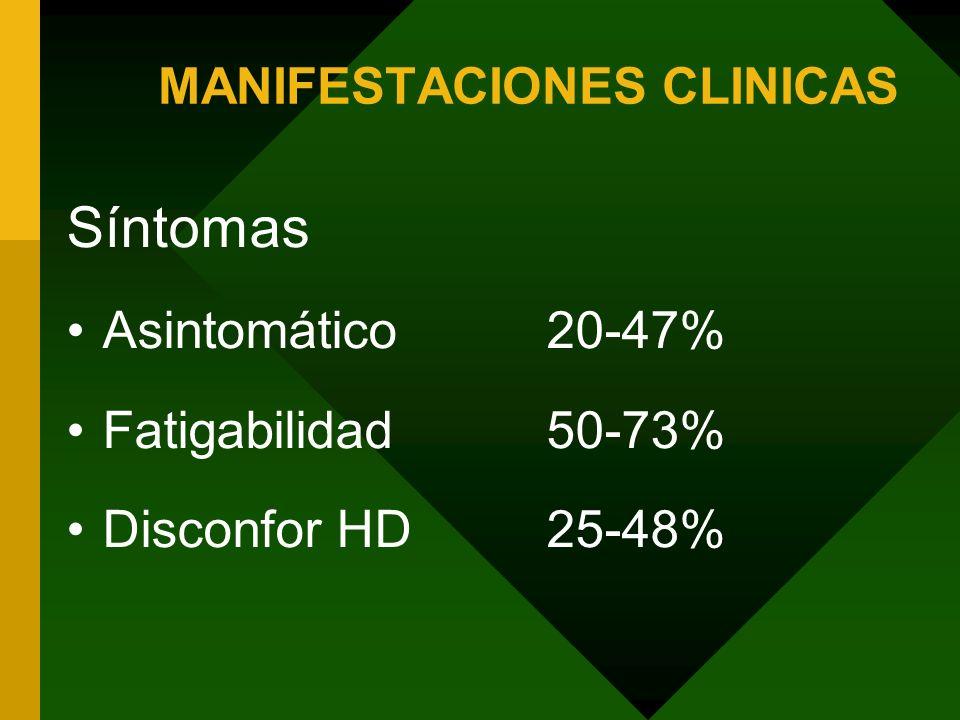 MANIFESTACIONES CLINICAS Signos Examen normal40-80% Hepatomegalia25-53% Estigmas de DHCr5-15% Edema, ictericia, ascitis< 5%