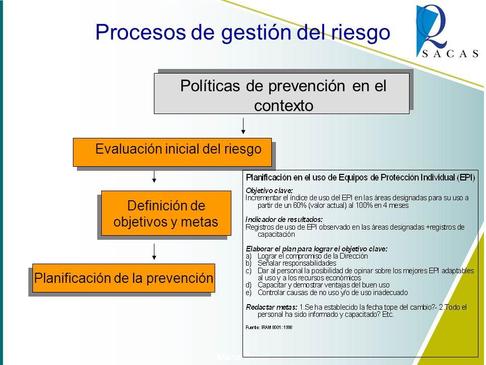 Políticas de prevención en el contexto Evaluación inicial del riesgo Requisitos legales (Ley N. 23798 y RS 228/93; LRT 24557 y otros) Métodos de evalu