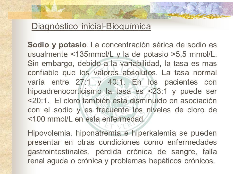 Sodio y potasio : La concentración sérica de sodio es usualmente 5,5 mmol/L. Sin embargo, debido a la variabilidad, la tasa es mas confiable que los v