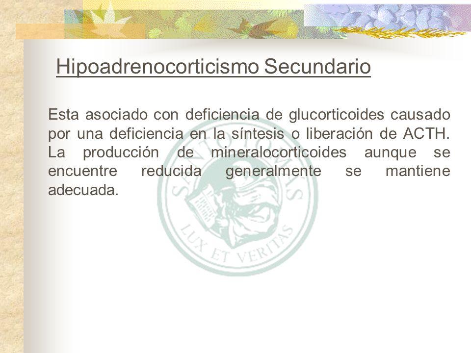 Esta asociado con deficiencia de glucorticoides causado por una deficiencia en la síntesis o liberación de ACTH. La producción de mineralocorticoides