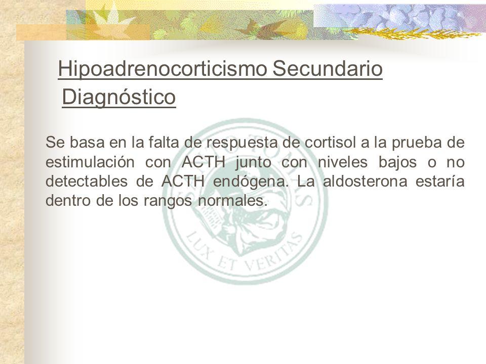 Se basa en la falta de respuesta de cortisol a la prueba de estimulación con ACTH junto con niveles bajos o no detectables de ACTH endógena. La aldost