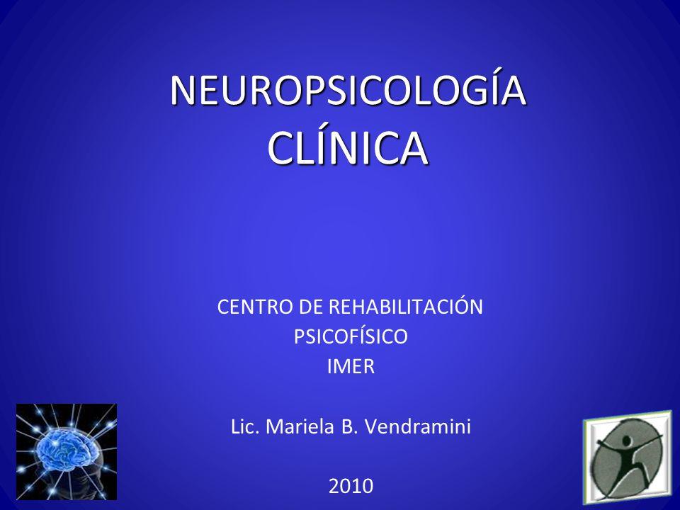 NEUROPSICOLOGÍA CLÍNICA CENTRO DE REHABILITACIÓN PSICOFÍSICO IMER Lic. Mariela B. Vendramini 2010