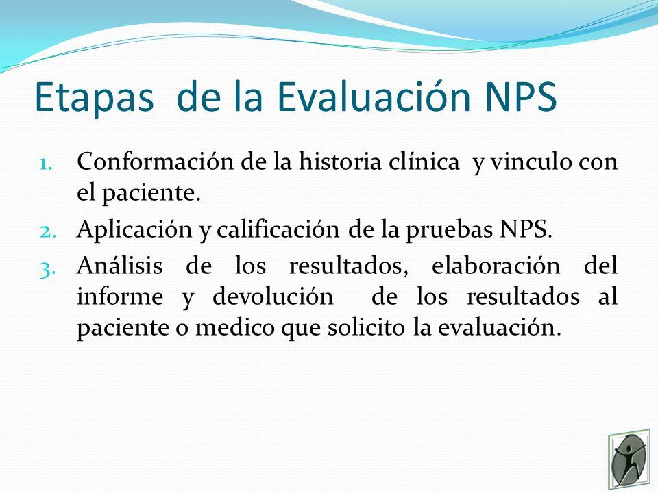 Etapas de la Evaluación NPS 1.Conformación de la historia clínica y vinculo con el paciente.