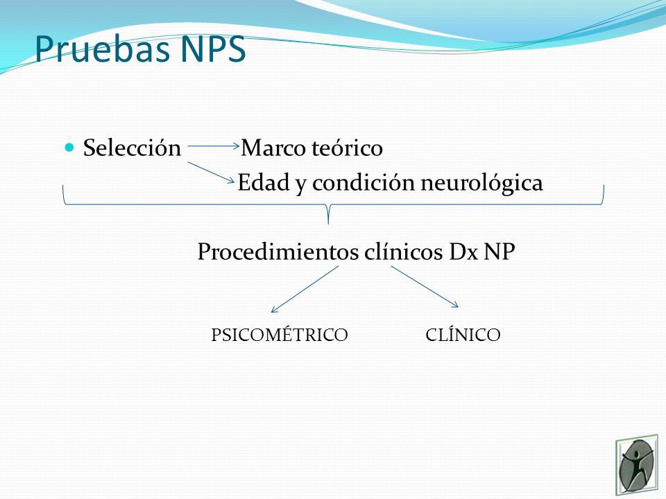Pruebas NPS Selección Marco teórico Edad y condición neurológica Procedimientos clínicos Dx NP PSICOMÉTRICO CLÍNICO