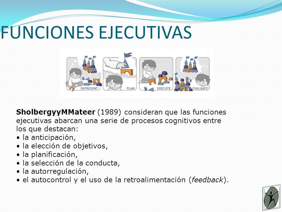 FUNCIONES EJECUTIVAS SholbergyMateer (1989) consideran que las funciones ejecutivas abarcan una serie de procesos cognitivos entre los que destacan: la anticipación, la elección de objetivos, la planificación, la selección de la conducta, la autorregulación, el autocontrol y el uso de la retroalimentación (feedback).