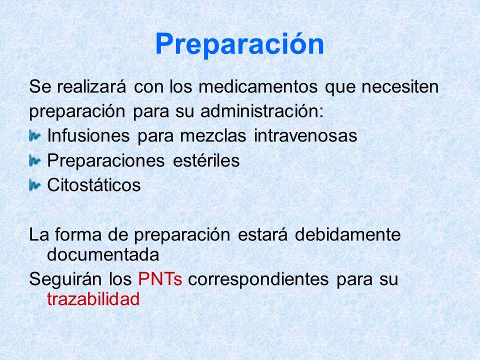 Preparación Se realizará con los medicamentos que necesiten preparación para su administración: Infusiones para mezclas intravenosas Preparaciones est