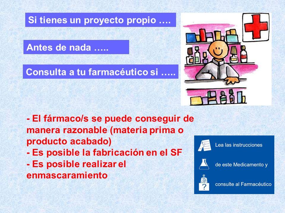 - El fármaco/s se puede conseguir de manera razonable (materia prima o producto acabado) - Es posible la fabricación en el SF - Es posible realizar el