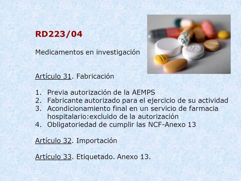 RD223/04 Medicamentos en investigación Artículo 31. Fabricación 1.Previa autorización de la AEMPS 2.Fabricante autorizado para el ejercicio de su acti
