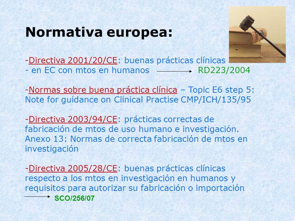 Normativa europea: -Directiva 2001/20/CE: buenas prácticas clínicas - en EC con mtos en humanos RD223/2004 -Normas sobre buena práctica clínica – Topi