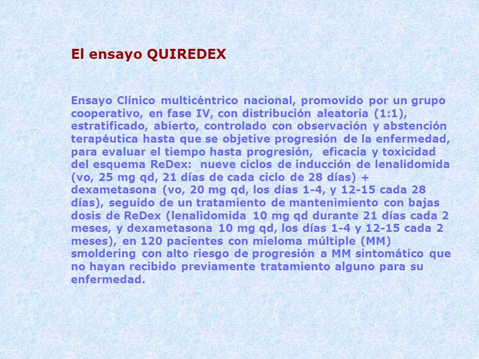El ensayo QUIREDEX Ensayo Clínico multicéntrico nacional, promovido por un grupo cooperativo, en fase IV, con distribución aleatoria (1:1), estratific