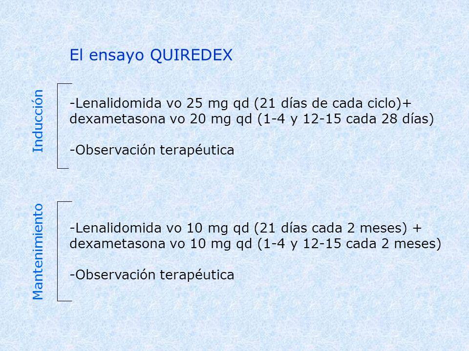 El ensayo QUIREDEX -Lenalidomida vo 25 mg qd (21 días de cada ciclo)+ dexametasona vo 20 mg qd (1-4 y 12-15 cada 28 días) -Observación terapéutica -Le
