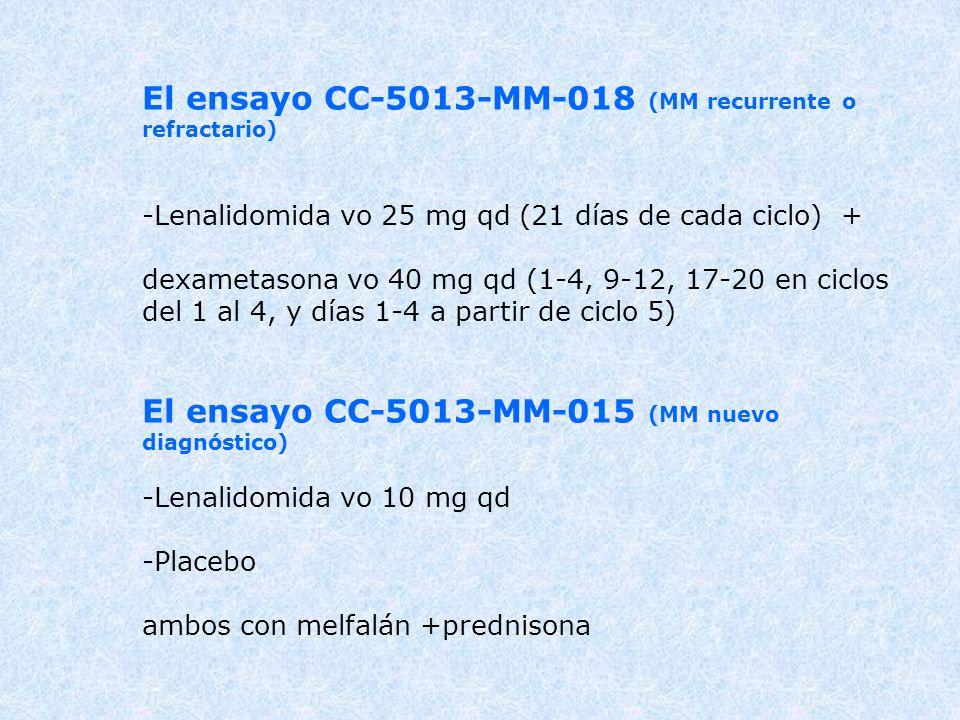El ensayo CC-5013-MM-018 (MM recurrente o refractario) -Lenalidomida vo 25 mg qd (21 días de cada ciclo) + dexametasona vo 40 mg qd (1-4, 9-12, 17-20