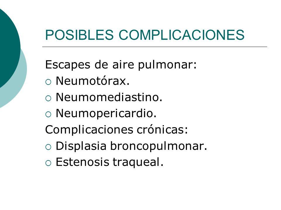 POSIBLES COMPLICACIONES Escapes de aire pulmonar: Neumotórax. Neumomediastino. Neumopericardio. Complicaciones crónicas: Displasia broncopulmonar. Est