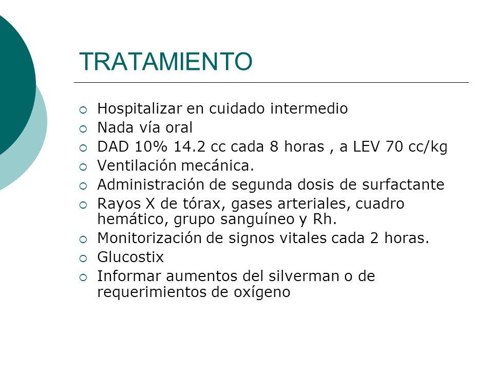 TRATAMIENTO Hospitalizar en cuidado intermedio Nada vía oral DAD 10% 14.2 cc cada 8 horas, a LEV 70 cc/kg Ventilación mecánica. Administración de segu