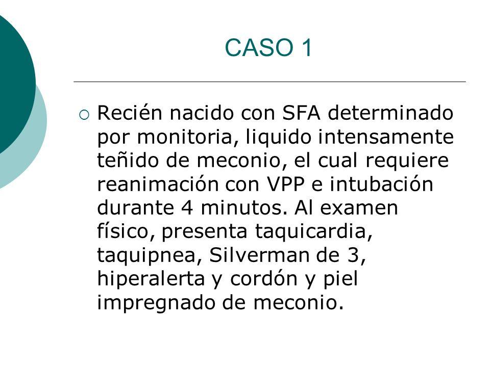 CASO 1 Recién nacido con SFA determinado por monitoria, liquido intensamente teñido de meconio, el cual requiere reanimación con VPP e intubación dura