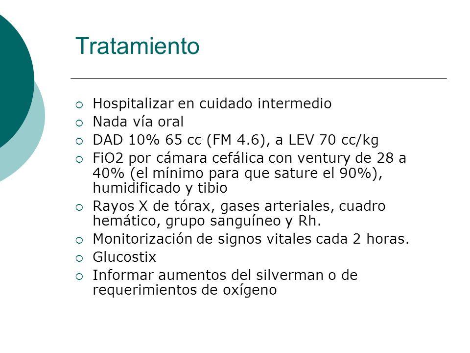 Tratamiento Hospitalizar en cuidado intermedio Nada vía oral DAD 10% 65 cc (FM 4.6), a LEV 70 cc/kg FiO2 por cámara cefálica con ventury de 28 a 40% (