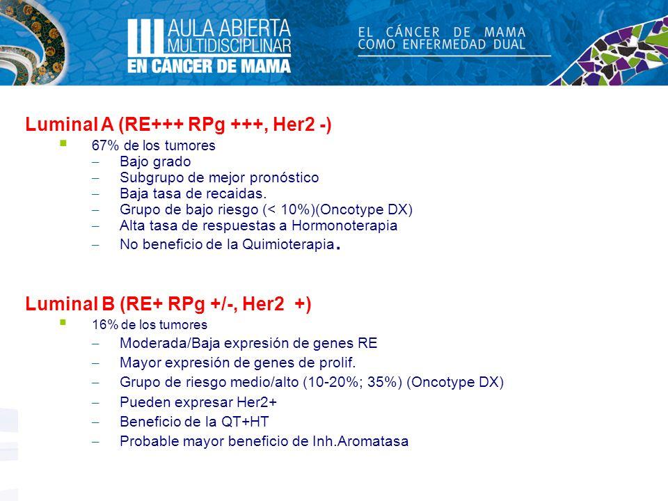 Luminal A (RE+++ RPg +++, Her2 -) 67% de los tumores – Bajo grado – Subgrupo de mejor pronóstico – Baja tasa de recaidas. – Grupo de bajo riesgo (< 10