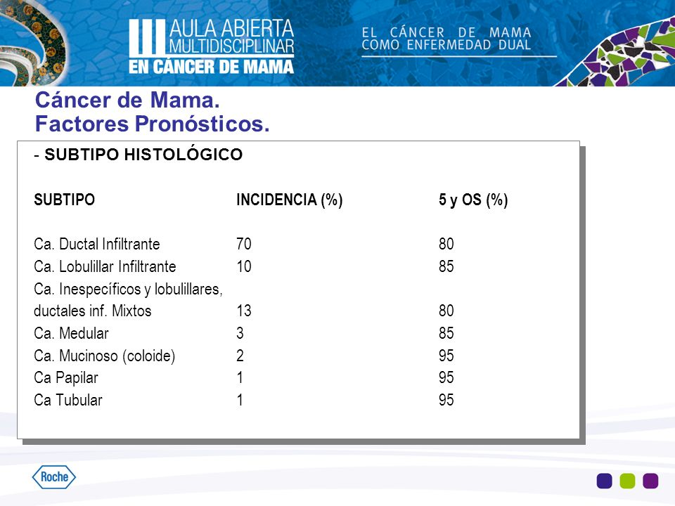 Cáncer de Mama. Factores Pronósticos. - SUBTIPO HISTOLÓGICO SUBTIPOINCIDENCIA (%)5 y OS (%) Ca. Ductal Infiltrante7080 Ca. Lobulillar Infiltrante1085