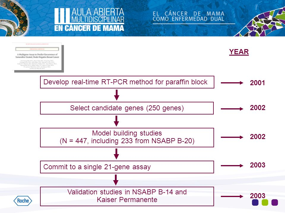 Develop real-time RT-PCR method for paraffin block Select candidate genes (250 genes) Model building studies (N = 447, including 233 from NSABP B-20) Commit to a single 21-gene assay Validation studies in NSABP B-14 and Kaiser Permanente YEAR 2001 2002 2003