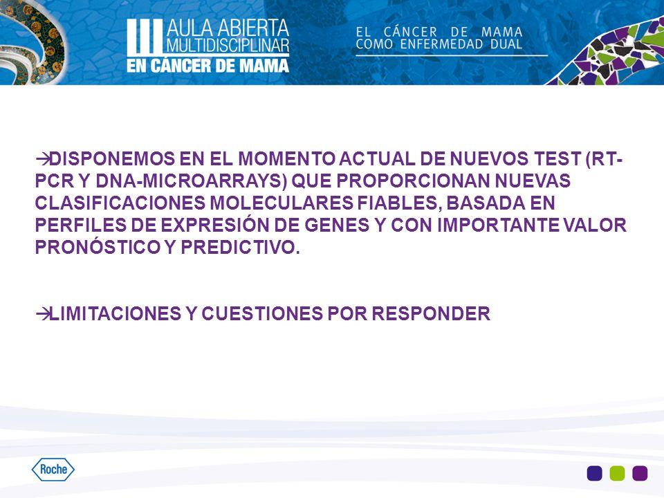 DISPONEMOS EN EL MOMENTO ACTUAL DE NUEVOS TEST (RT- PCR Y DNA-MICROARRAYS) QUE PROPORCIONAN NUEVAS CLASIFICACIONES MOLECULARES FIABLES, BASADA EN PERF