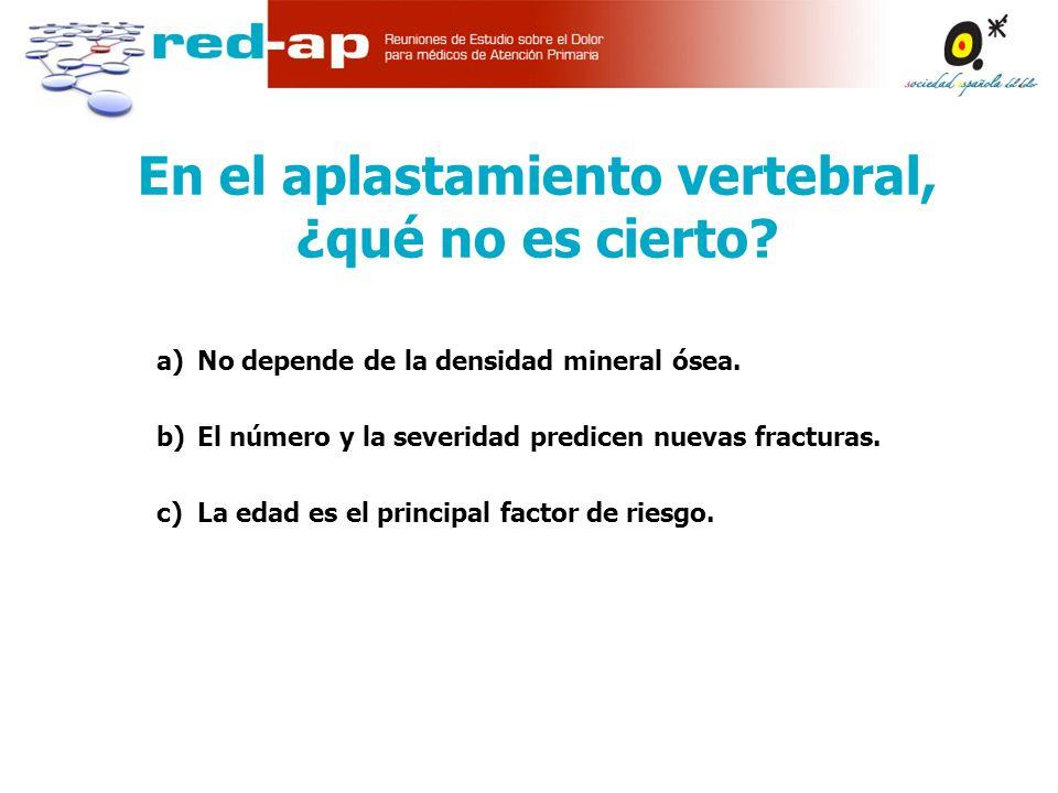 a)No depende de la densidad mineral ósea.b)El número y la severidad predicen nuevas fracturas.