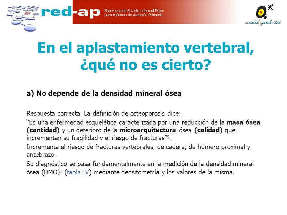 a) No depende de la densidad mineral ósea Respuesta correcta.
