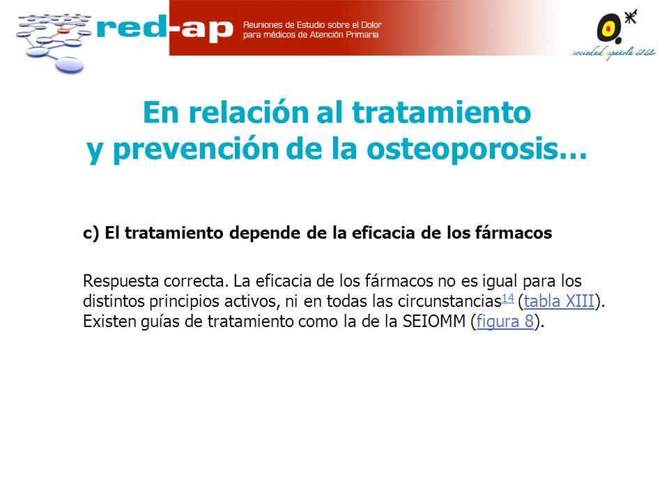 c) El tratamiento depende de la eficacia de los fármacos Respuesta correcta.
