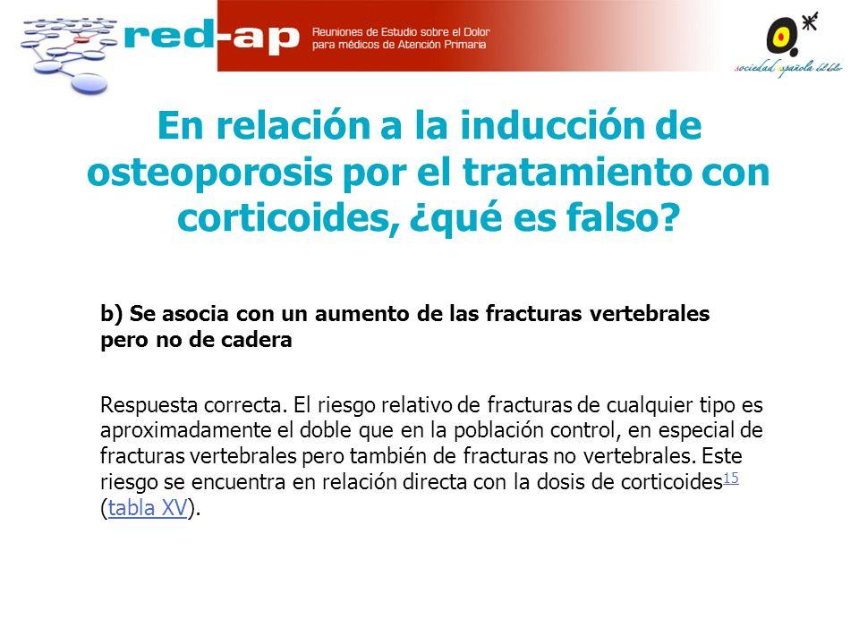 b) Se asocia con un aumento de las fracturas vertebrales pero no de cadera Respuesta correcta.