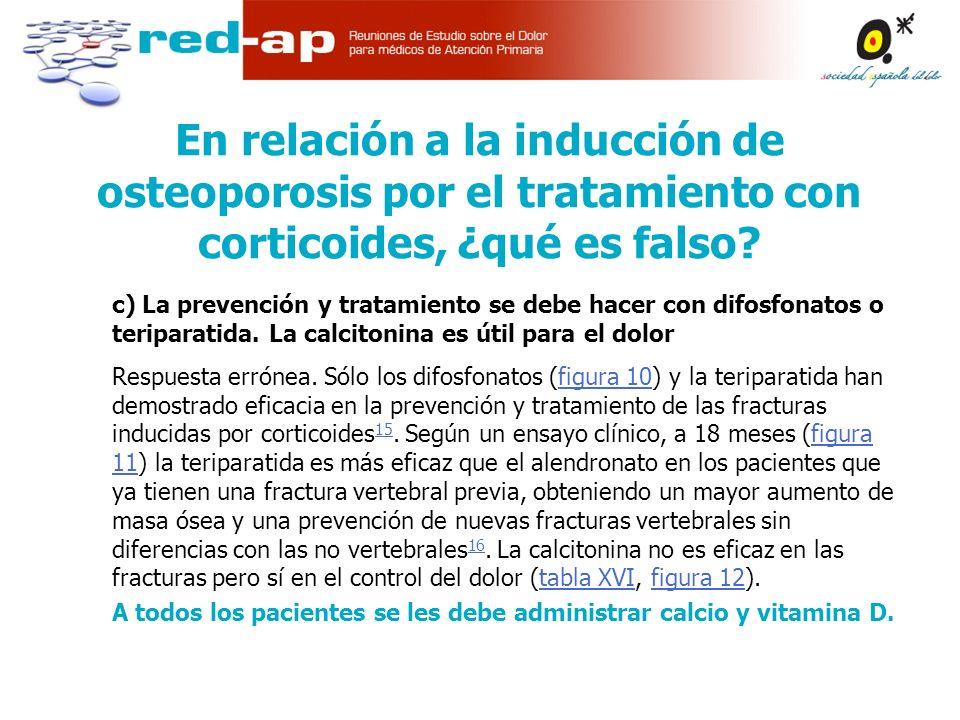 En relación a la inducción de osteoporosis por el tratamiento con corticoides, ¿qué es falso.