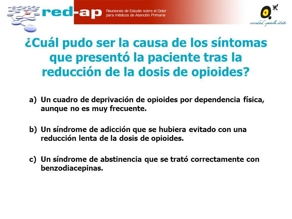 a)Un cuadro de deprivación de opioides por dependencia física, aunque no es muy frecuente.