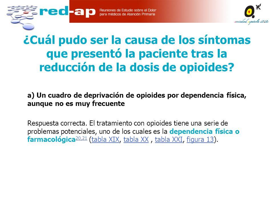 a) Un cuadro de deprivación de opioides por dependencia física, aunque no es muy frecuente Respuesta correcta.