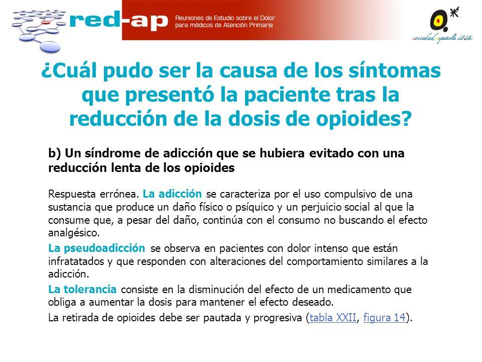 b) Un síndrome de adicción que se hubiera evitado con una reducción lenta de los opioides Respuesta errónea.