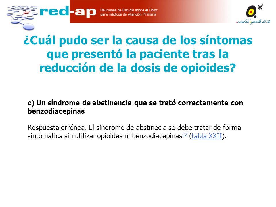 c) Un síndrome de abstinencia que se trató correctamente con benzodiacepinas Respuesta errónea.