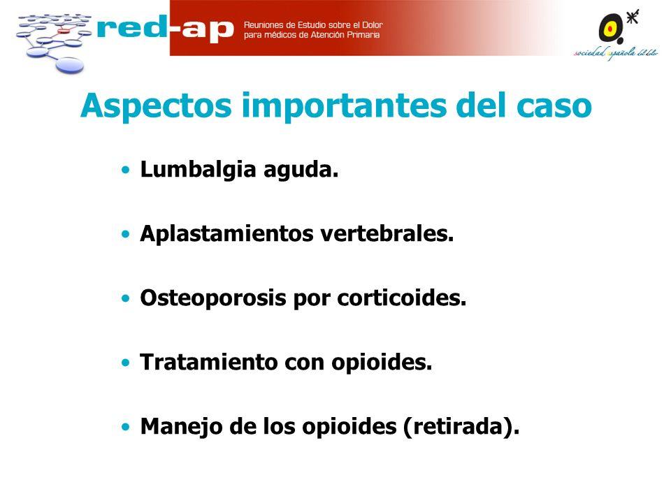 Aspectos importantes del caso Lumbalgia aguda.Aplastamientos vertebrales.