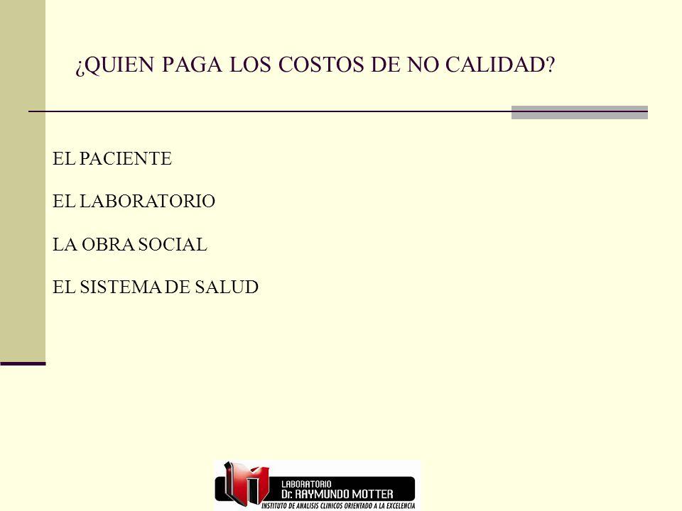 ¿QUIEN PAGA LOS COSTOS DE NO CALIDAD? EL PACIENTE EL LABORATORIO LA OBRA SOCIAL EL SISTEMA DE SALUD