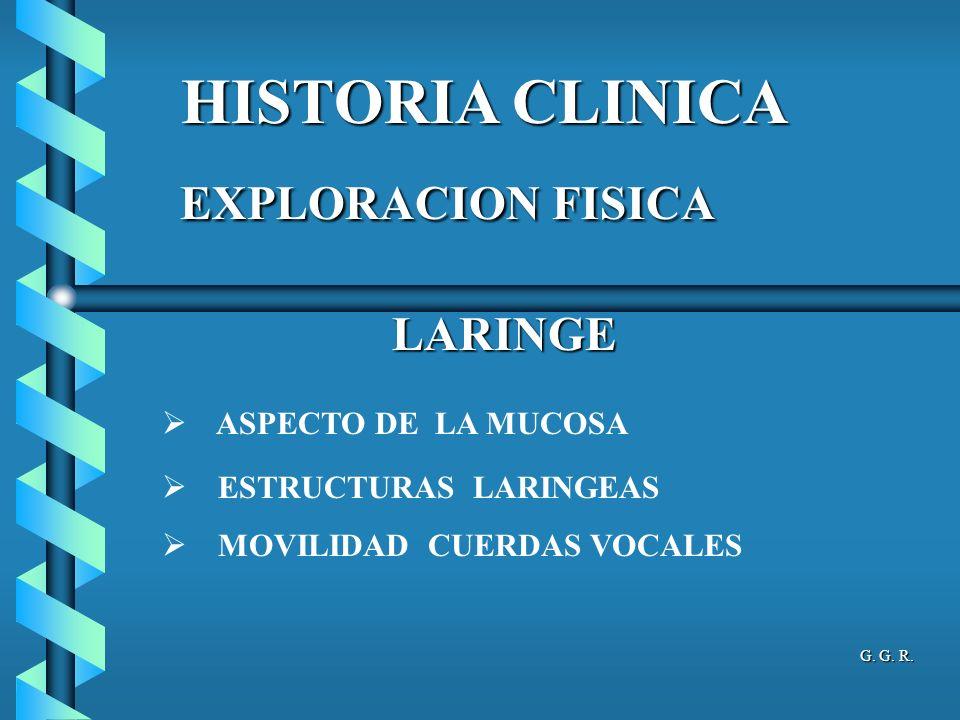 HISTORIA CLINICA LARINGE ASPECTO DE LA MUCOSA ESTRUCTURAS LARINGEAS MOVILIDAD CUERDAS VOCALES EXPLORACION FISICA EXPLORACION FISICA G. G. R.