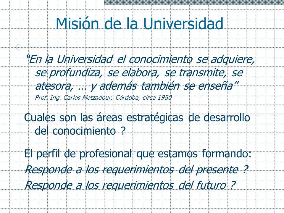 Misión de la Universidad En la Universidad el conocimiento se adquiere, se profundiza, se elabora, se transmite, se atesora, … y además también se ens