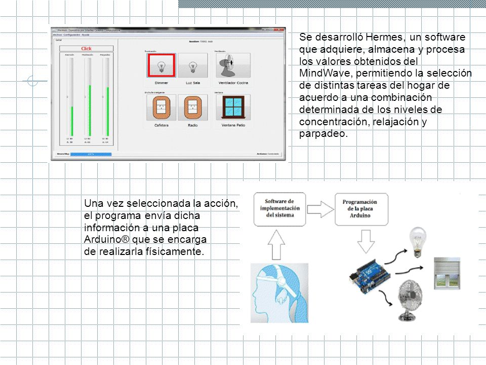 Se desarrolló Hermes, un software que adquiere, almacena y procesa los valores obtenidos del MindWave, permitiendo la selección de distintas tareas de