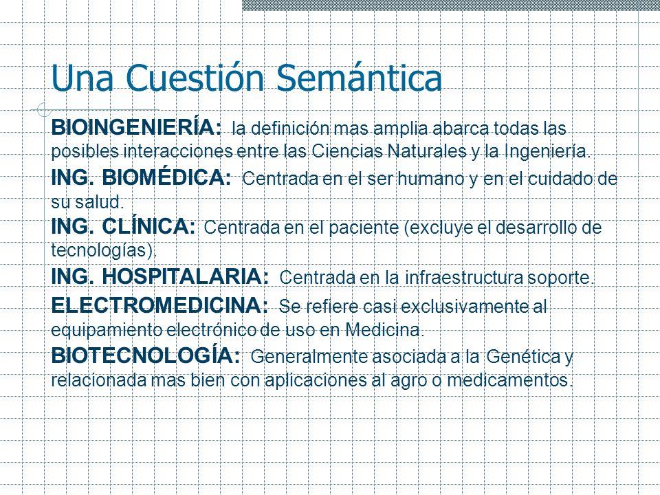 Una Cuestión Semántica BIOINGENIERÍA: la definición mas amplia abarca todas las posibles interacciones entre las Ciencias Naturales y la Ingeniería. I