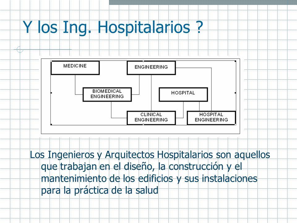 Y los Ing. Hospitalarios ? Los Ingenieros y Arquitectos Hospitalarios son aquellos que trabajan en el diseño, la construcción y el mantenimiento de lo