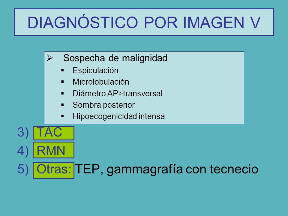 Sospecha de malignidad Espiculación Microlobulación Diámetro AP>transversal Sombra posterior Hipoecogenicidad intensa 3)TAC 4)RMN 5)Otras: TEP, gammag