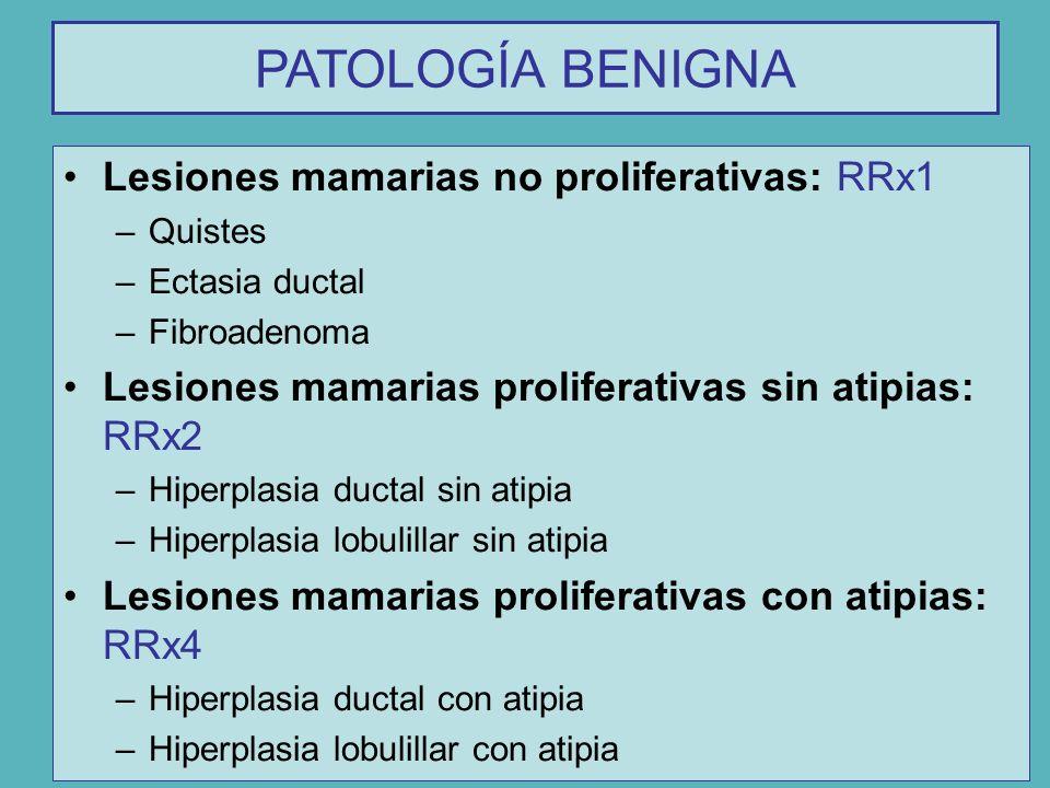 Lesiones mamarias no proliferativas: RRx1 –Quistes –Ectasia ductal –Fibroadenoma Lesiones mamarias proliferativas sin atipias: RRx2 –Hiperplasia ducta