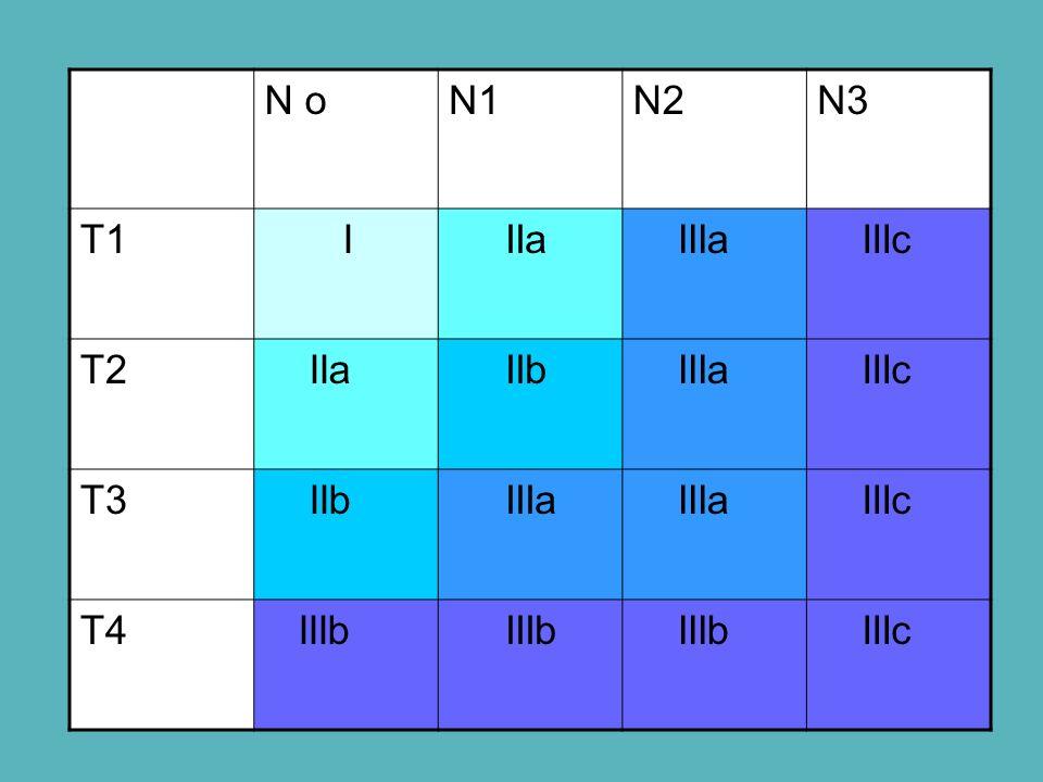 N oN1N2N3 T1 I IIa IIIa IIIc T2 IIa IIb IIIa IIIc T3 IIb IIIa IIIc T4 IIIb IIIc