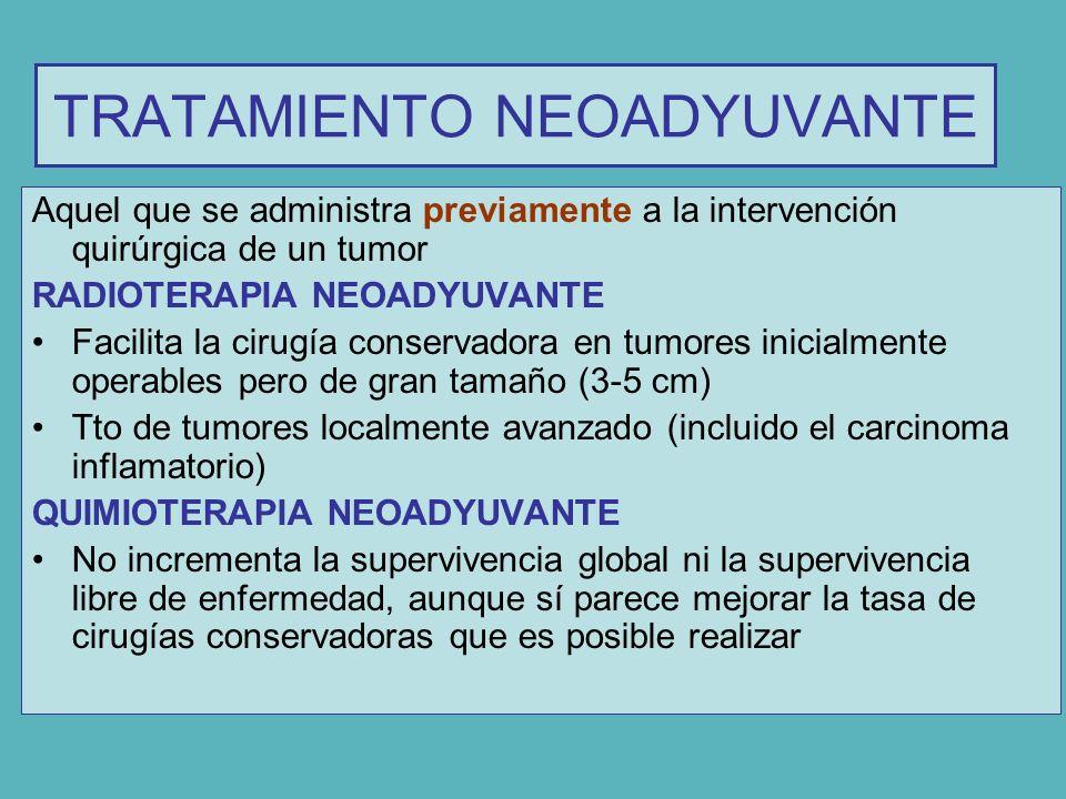 TRATAMIENTO NEOADYUVANTE Aquel que se administra previamente a la intervención quirúrgica de un tumor RADIOTERAPIA NEOADYUVANTE Facilita la cirugía co