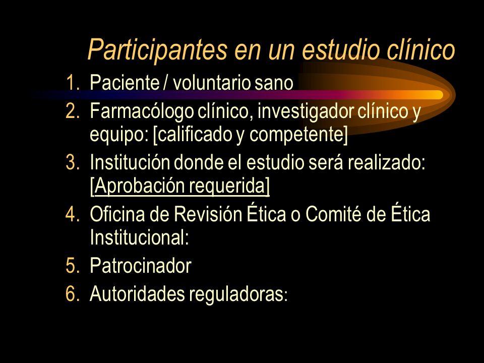 Participantes en un estudio clínico 1.Paciente / voluntario sano 2.Farmacólogo clínico, investigador clínico y equipo: [calificado y competente] 3.Ins